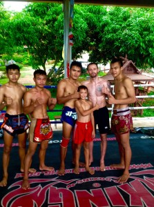 Coach Hart training muay thai at Kem Muay Thai Gym in Thailand.